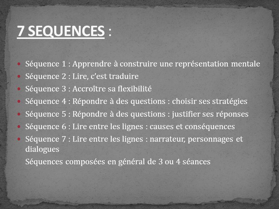 7 SEQUENCES : Séquence 1 : Apprendre à construire une représentation mentale. Séquence 2 : Lire, c'est traduire.