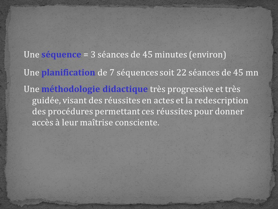 Une séquence = 3 séances de 45 minutes (environ)
