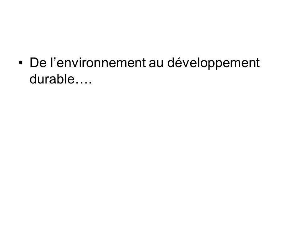 De l'environnement au développement durable….