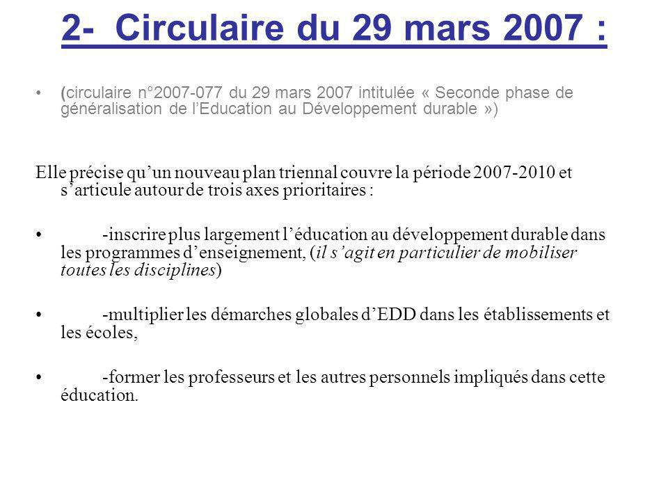 2- Circulaire du 29 mars 2007 :
