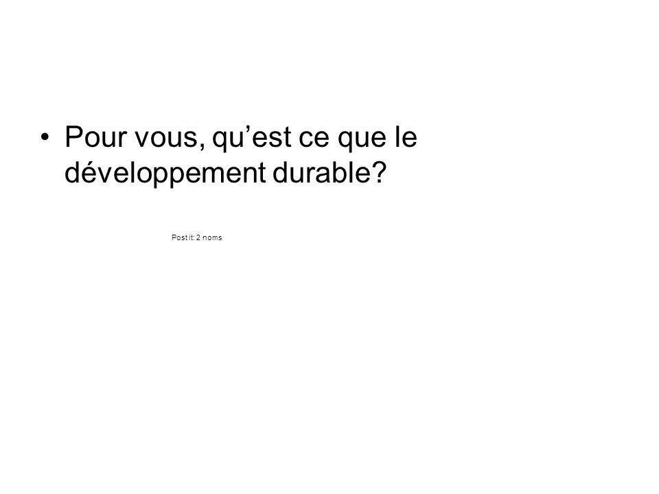 Pour vous, qu'est ce que le développement durable