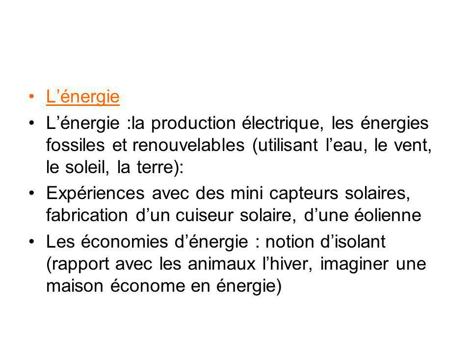 L'énergie L'énergie :la production électrique, les énergies fossiles et renouvelables (utilisant l'eau, le vent, le soleil, la terre):