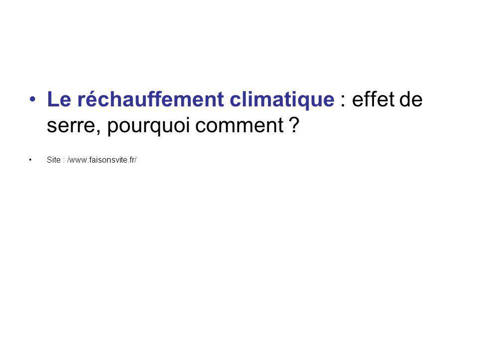 Le réchauffement climatique : effet de serre, pourquoi comment