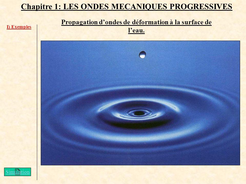 Propagation d'ondes de déformation à la surface de l'eau.