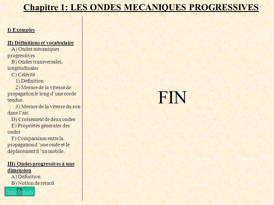 FIN Chapitre 1: LES ONDES MECANIQUES PROGRESSIVES Simulation