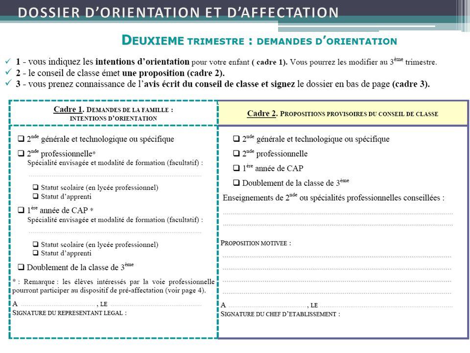 DOSSIER D'ORIENTATION ET D'AFFECTATION
