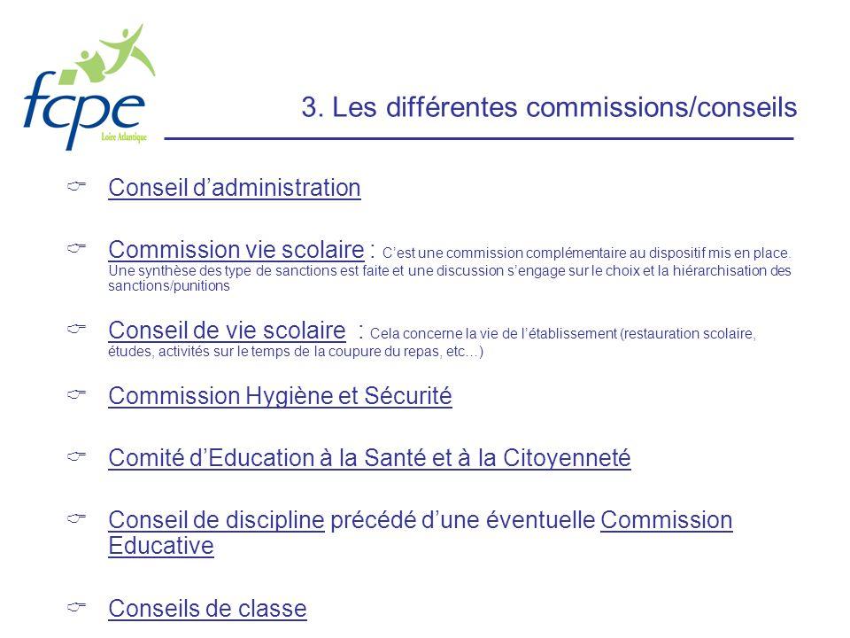 3. Les différentes commissions/conseils