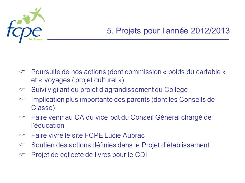 5. Projets pour l'année 2012/2013 Poursuite de nos actions (dont commission « poids du cartable » et « voyages / projet culturel »)