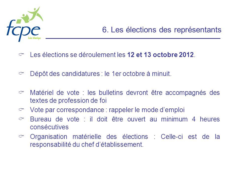 6. Les élections des représentants