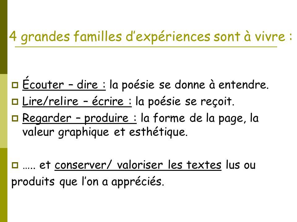 4 grandes familles d'expériences sont à vivre :