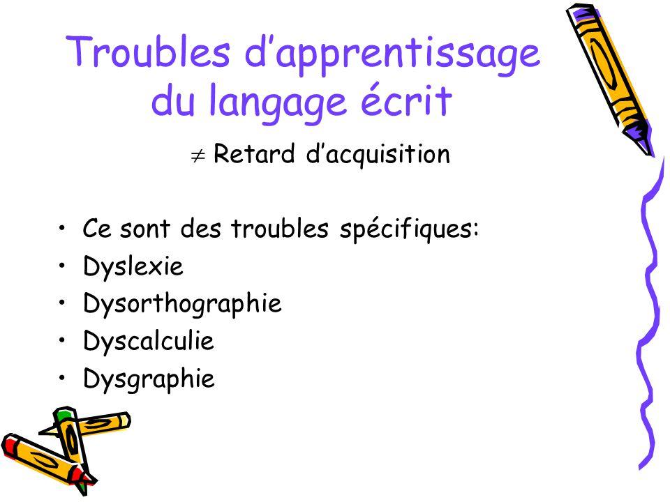 Troubles d'apprentissage du langage écrit