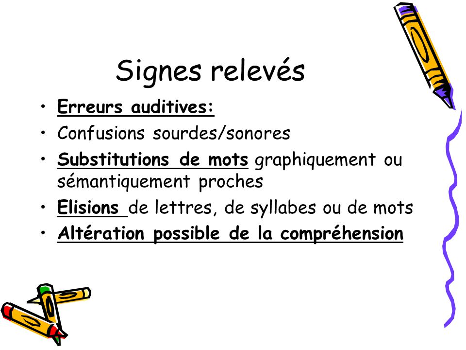 Signes relevés Erreurs auditives: Confusions sourdes/sonores