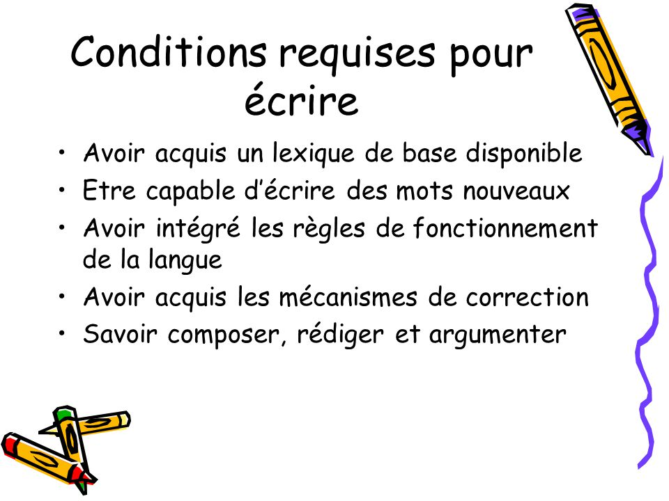 Conditions requises pour écrire