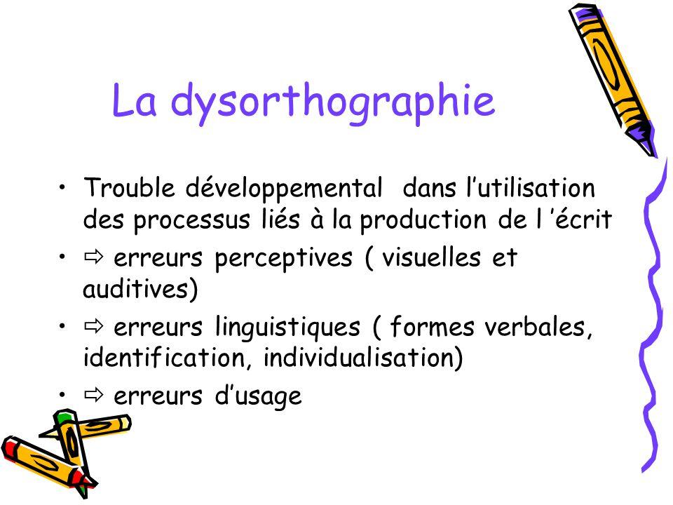 La dysorthographie Trouble développemental dans l'utilisation des processus liés à la production de l 'écrit.