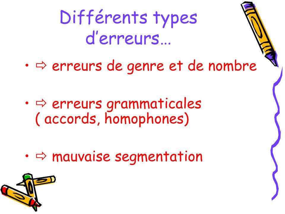 Différents types d'erreurs…