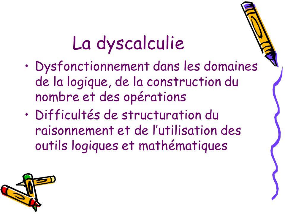 La dyscalculie Dysfonctionnement dans les domaines de la logique, de la construction du nombre et des opérations.