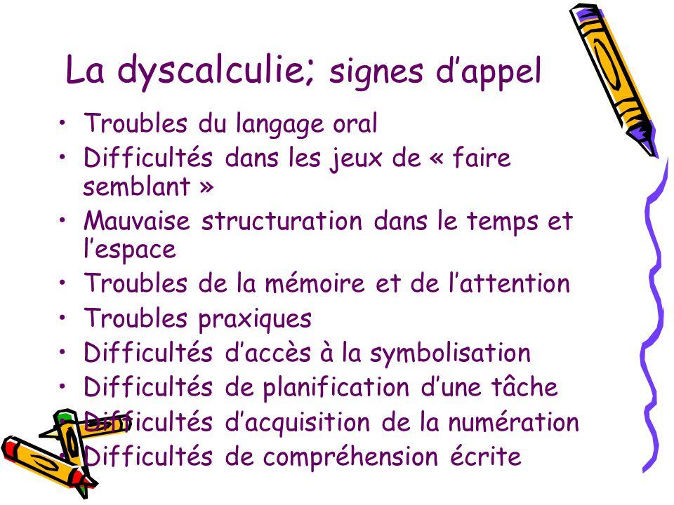 La dyscalculie; signes d'appel