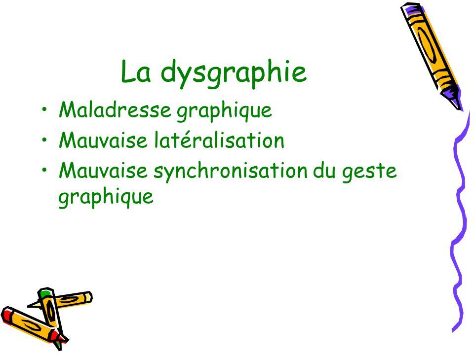 La dysgraphie Maladresse graphique Mauvaise latéralisation
