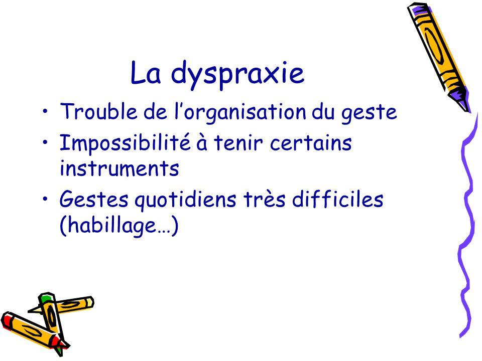 La dyspraxie Trouble de l'organisation du geste