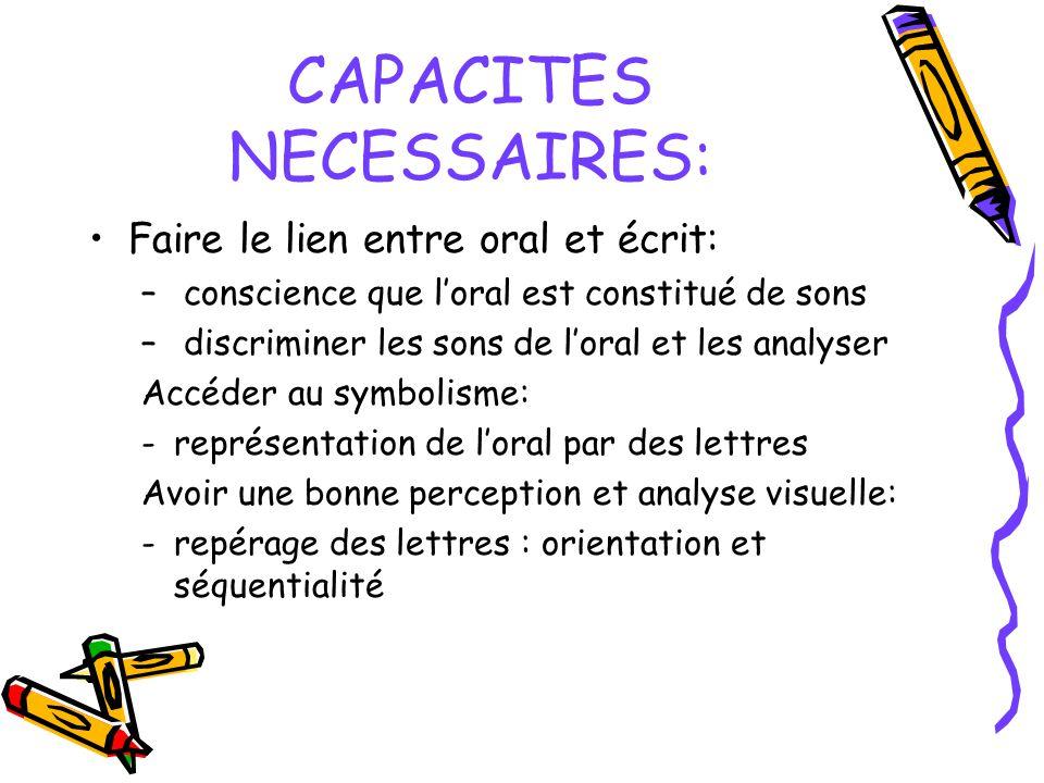 CAPACITES NECESSAIRES: