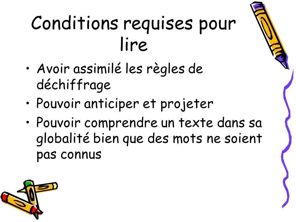 Conditions requises pour lire
