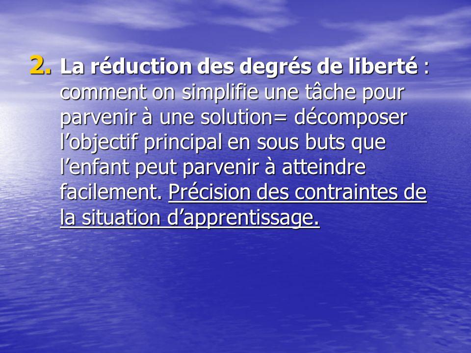 La réduction des degrés de liberté : comment on simplifie une tâche pour parvenir à une solution= décomposer l'objectif principal en sous buts que l'enfant peut parvenir à atteindre facilement.