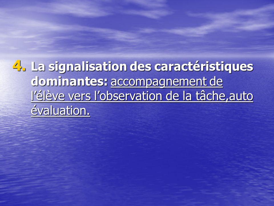 La signalisation des caractéristiques dominantes: accompagnement de l'élève vers l'observation de la tâche,auto évaluation.