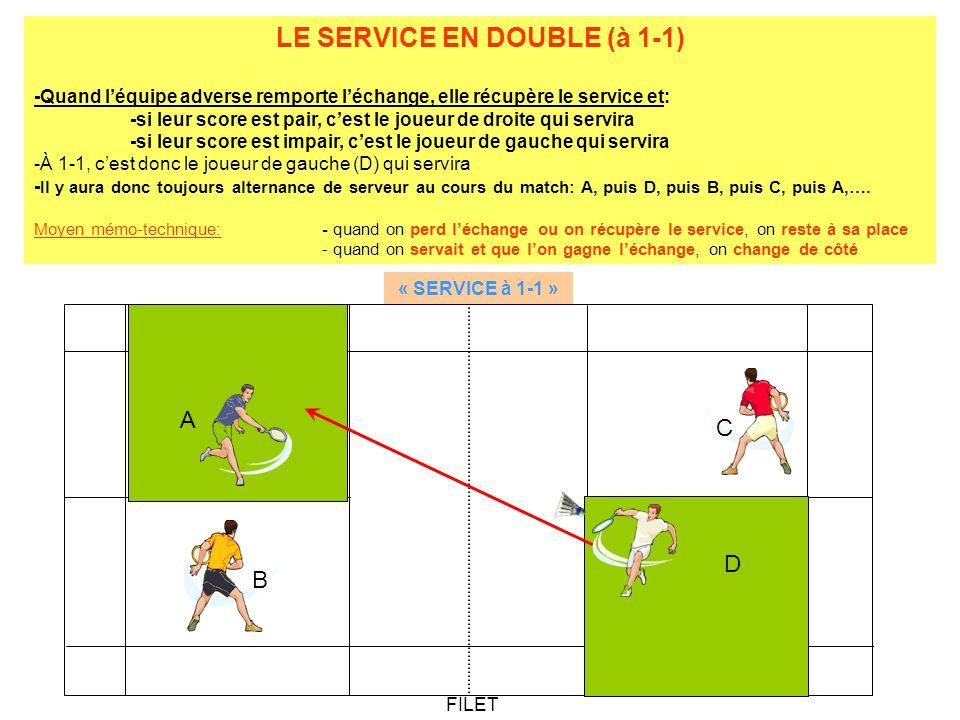 LE SERVICE EN DOUBLE (à 1-1)