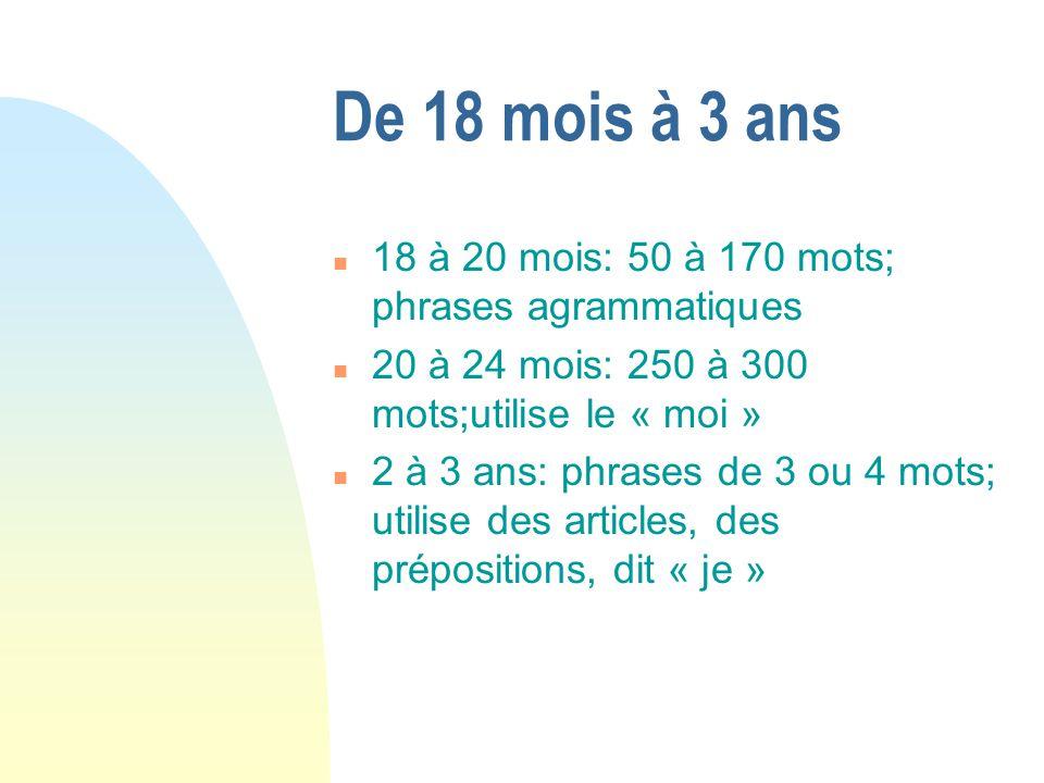 De 18 mois à 3 ans 18 à 20 mois: 50 à 170 mots; phrases agrammatiques