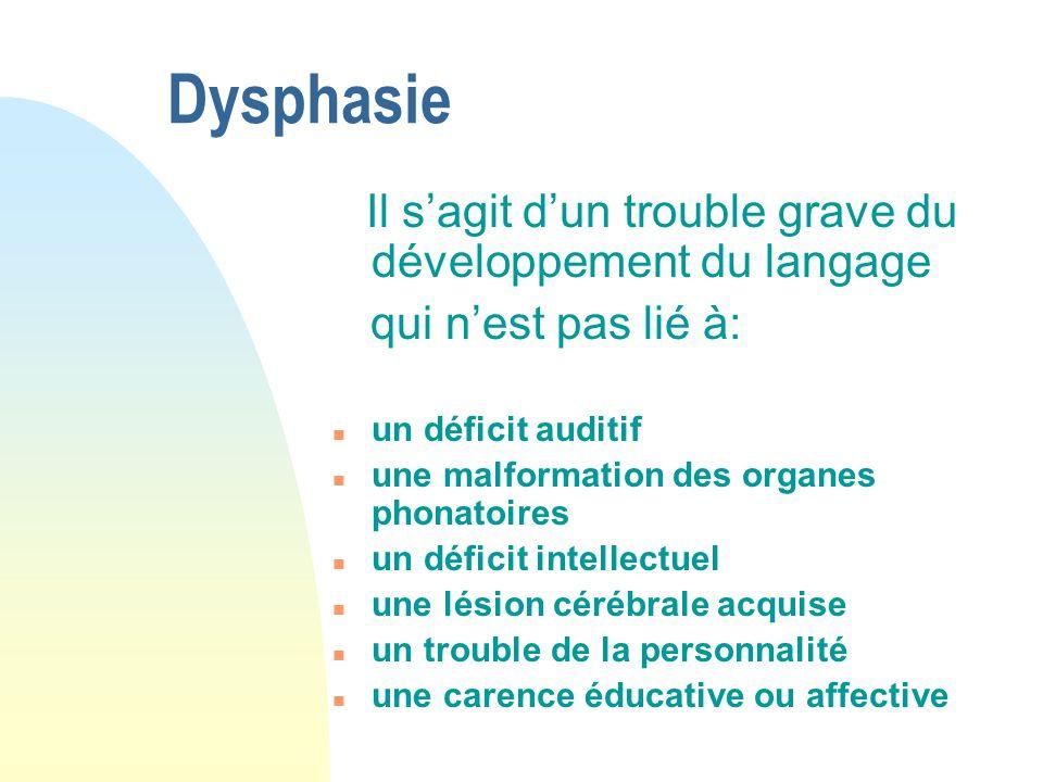 Dysphasie qui n'est pas lié à: