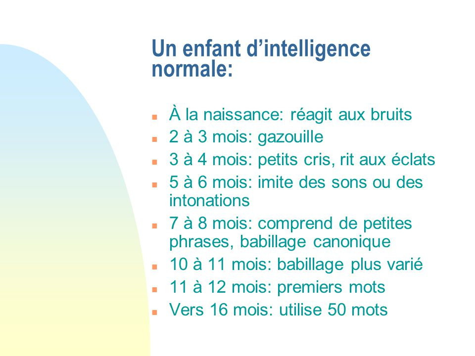 Un enfant d'intelligence normale: