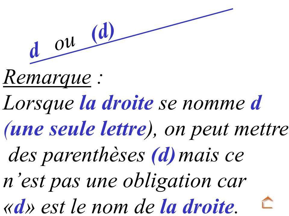 ou (d) d. Remarque : Lorsque la droite se nomme d. (une seule lettre), on peut mettre. des parenthèses (d) mais ce.