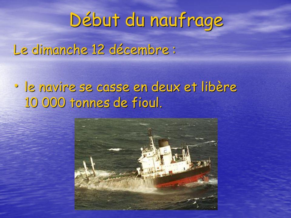Début du naufrage Le dimanche 12 décembre :