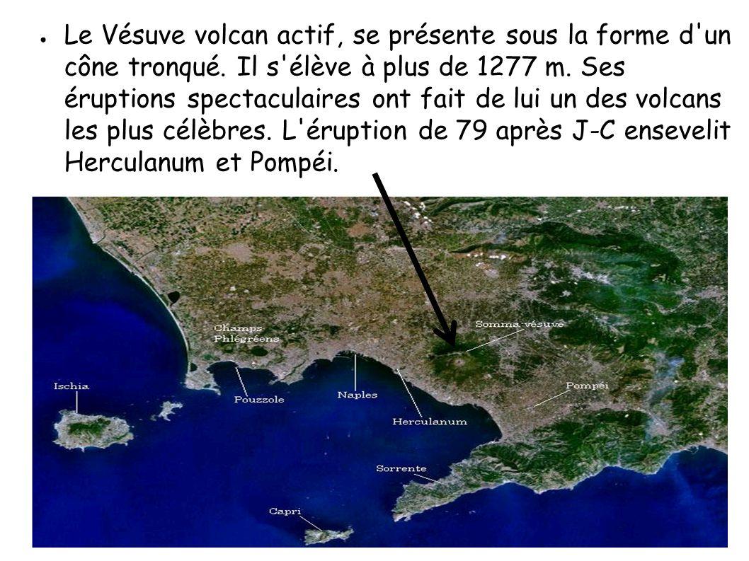 Le Vésuve volcan actif, se présente sous la forme d un cône tronqué