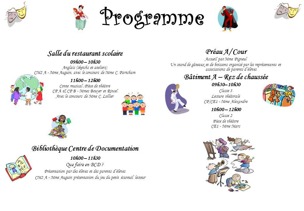 Programme Salle du restaurant scolaire Préau A/ Cour