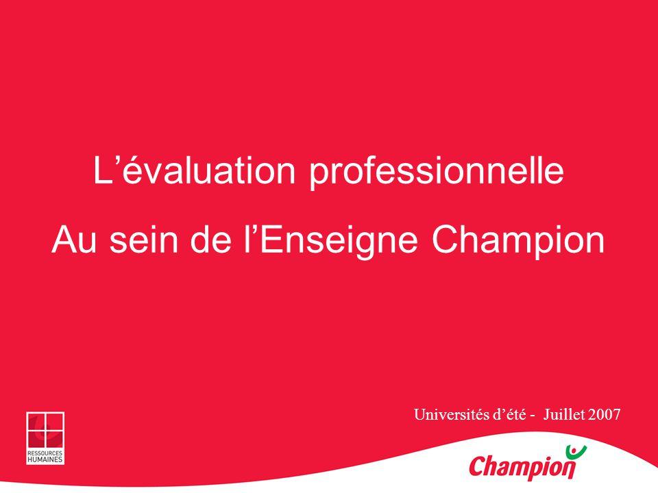 L'évaluation professionnelle Au sein de l'Enseigne Champion