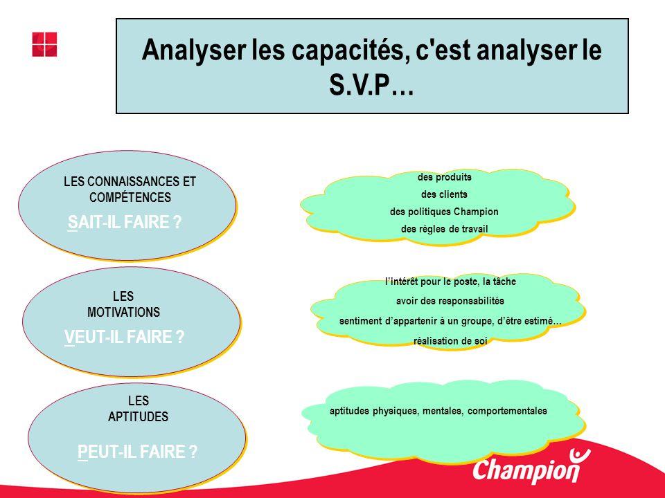 Analyser les capacités, c est analyser le S.V.P…