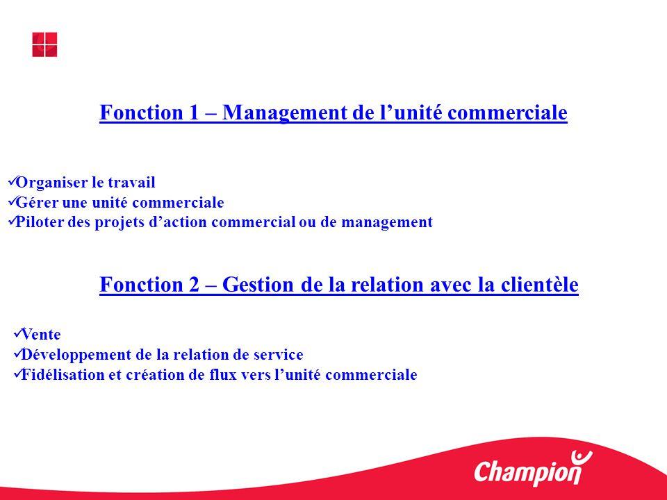 Fonction 1 – Management de l'unité commerciale