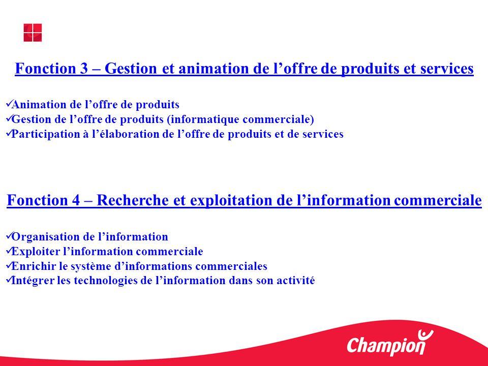 Fonction 3 – Gestion et animation de l'offre de produits et services
