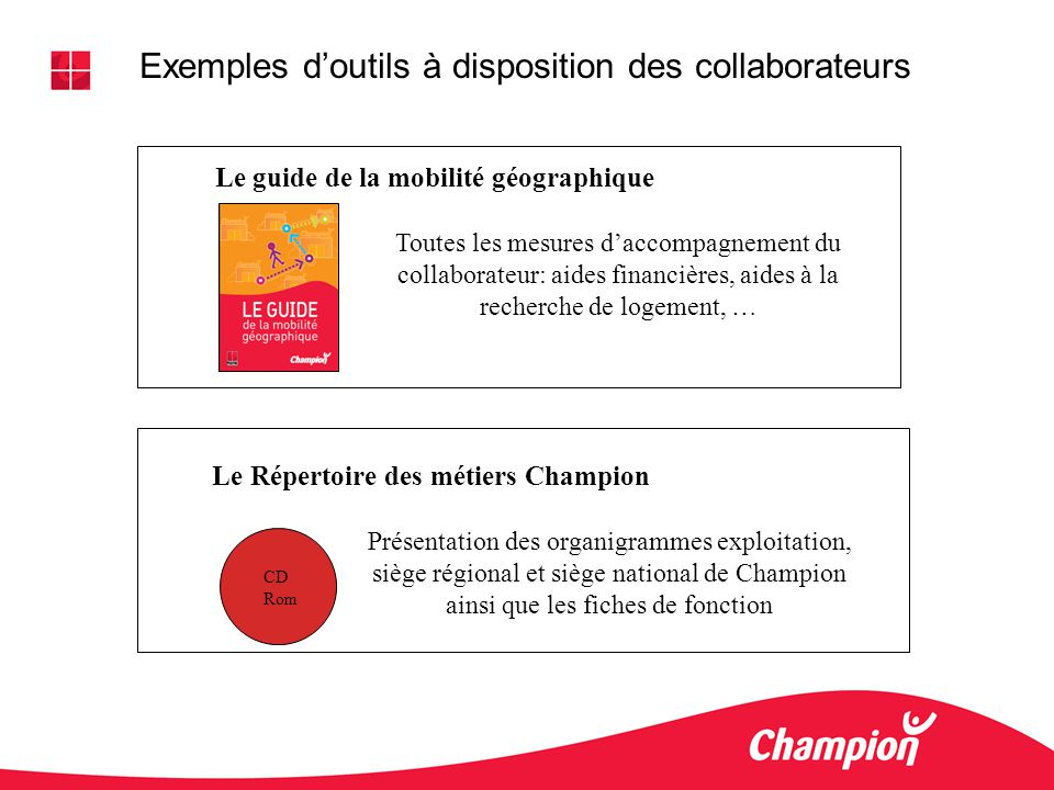 Exemples d'outils à disposition des collaborateurs