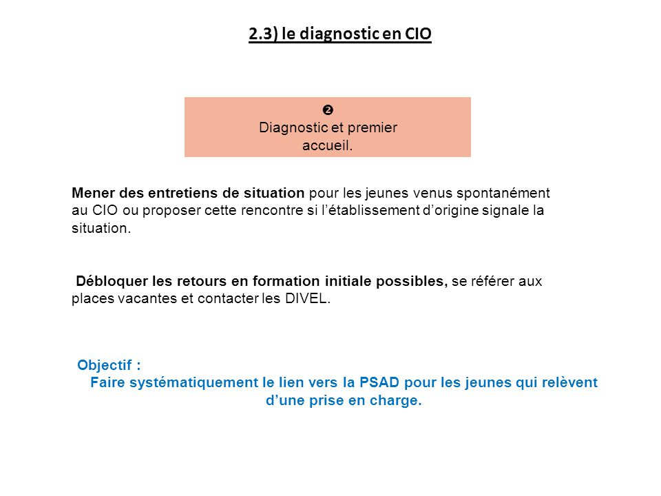 2.3) le diagnostic en CIO  Diagnostic et premier accueil.