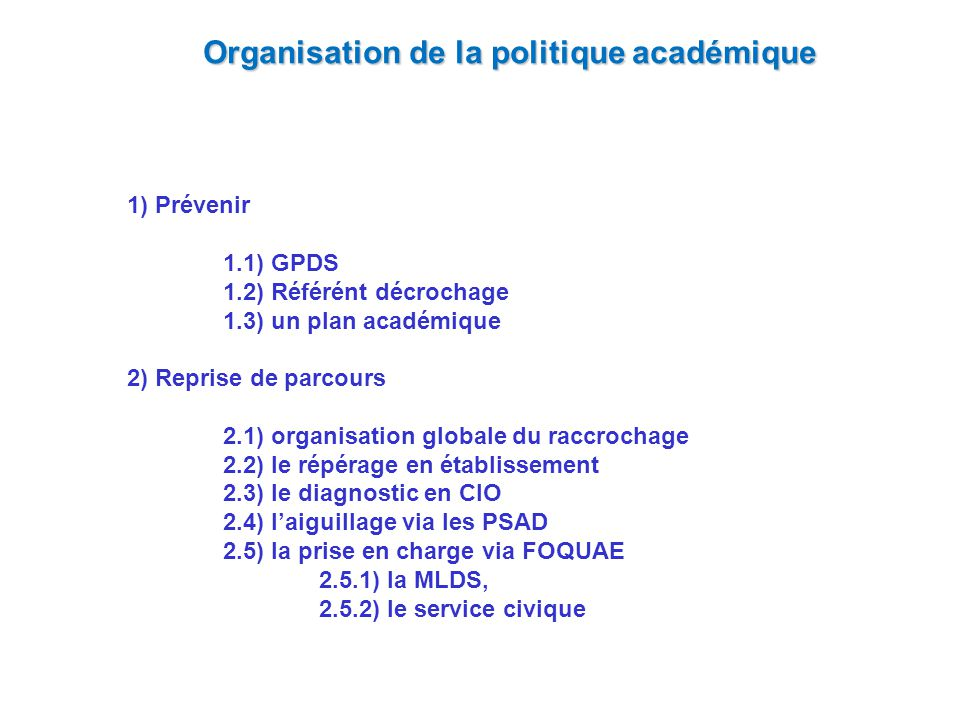 Organisation de la politique académique