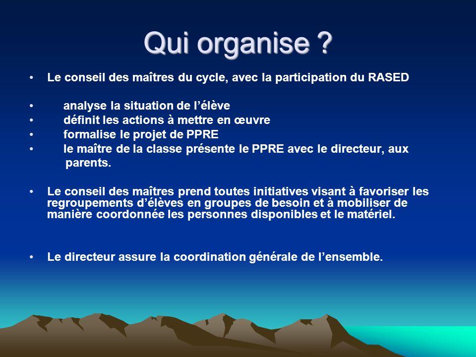 Qui organise Le conseil des maîtres du cycle, avec la participation du RASED. analyse la situation de l'élève.