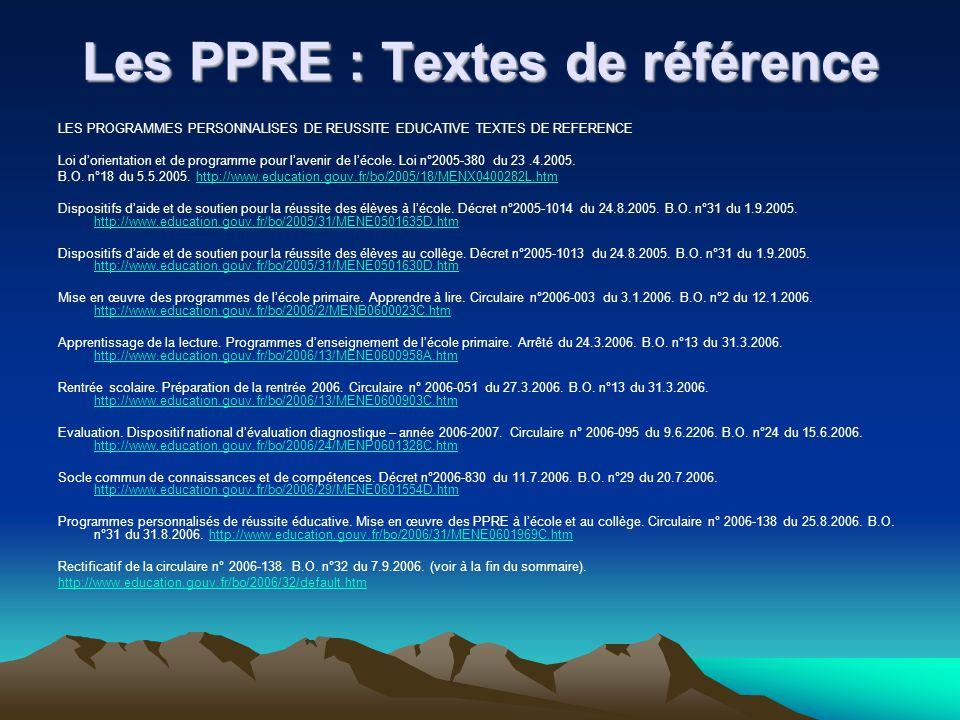 Les PPRE : Textes de référence