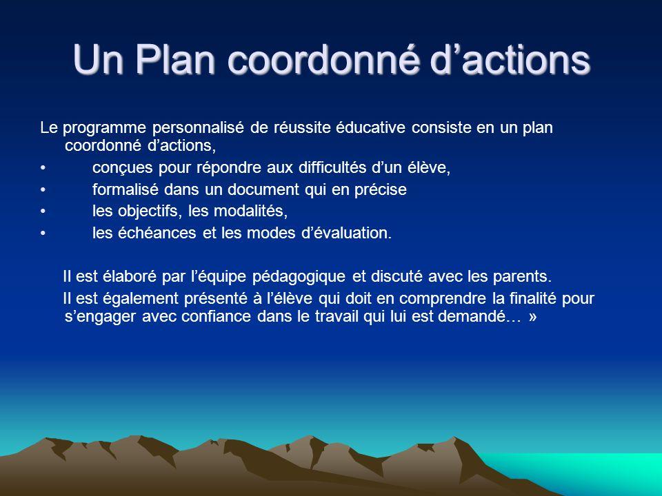 Un Plan coordonné d'actions