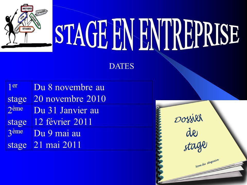 STAGE EN ENTREPRISE 1er stage Du 8 novembre au 20 novembre 2010