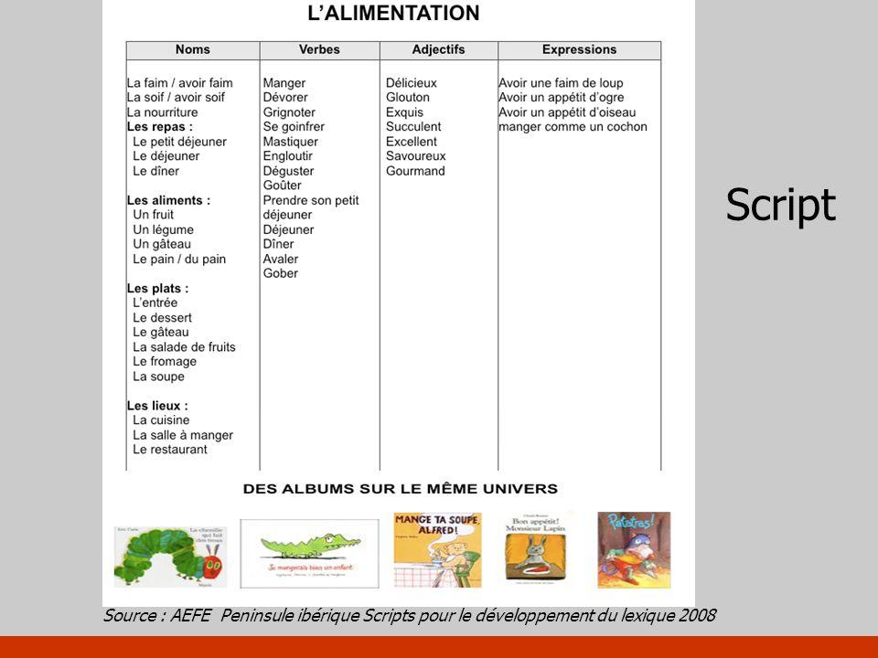 Script Source : AEFE Peninsule ibérique Scripts pour le développement du lexique 2008