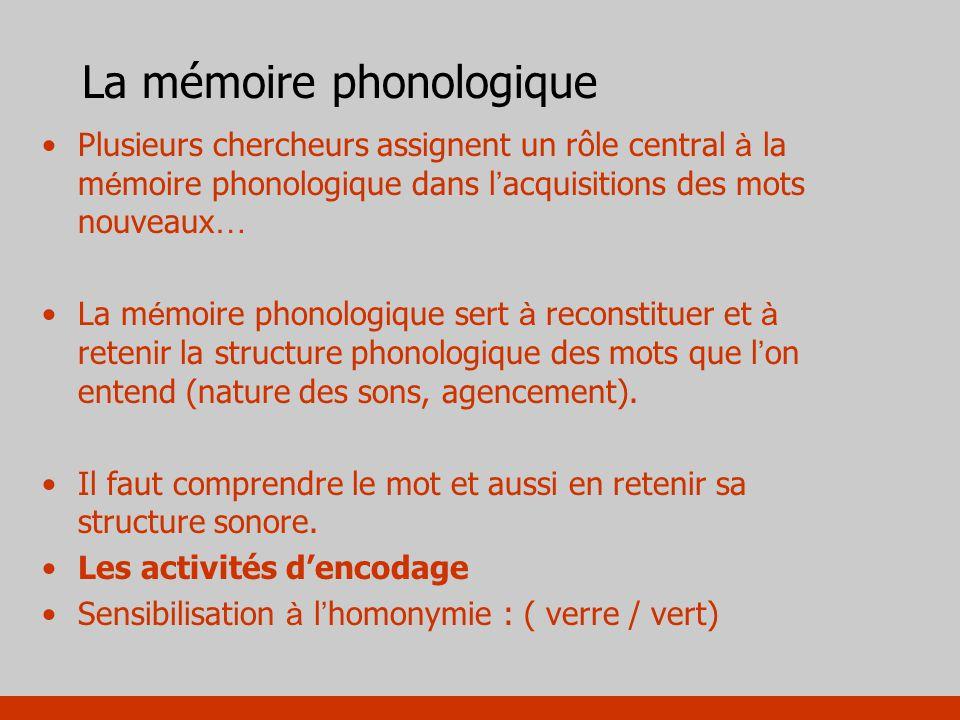 La mémoire phonologique