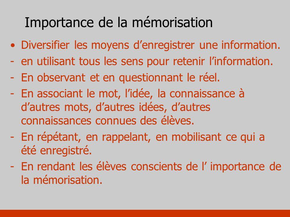 Importance de la mémorisation