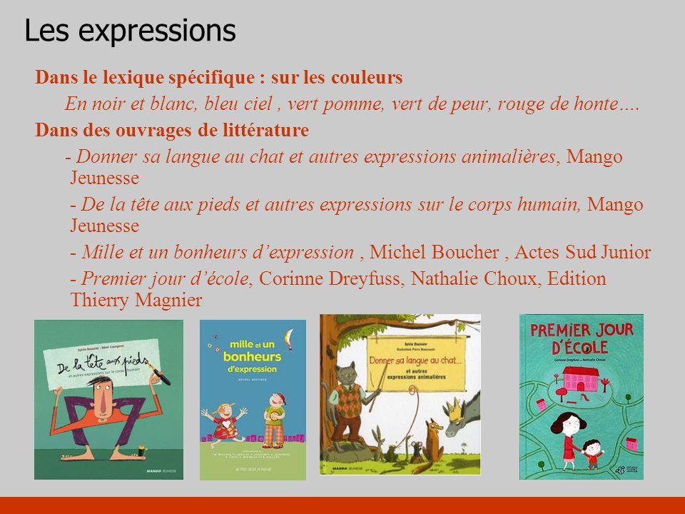 Les expressions Dans le lexique spécifique : sur les couleurs